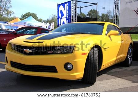 "KIEV - SEPTEMBER 10: Yearly automotive-show ""Retro auto show 2010"". September 10, 2010 in Kiev, Ukraine. Chevrolet Camaro - stock photo"