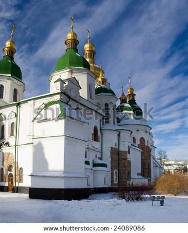 Kiev Sofia church panorama view winter sunny snow day blue sky back - stock photo