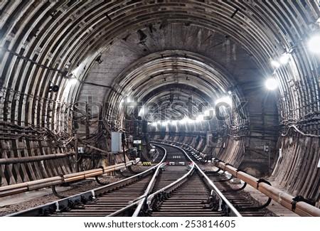 Kiev, Subway tunnel - stock photo
