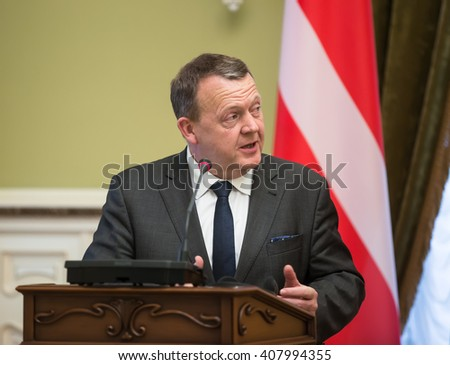 KIEV, UKRAINE - Apr 19, 2016: Prime Minister of the Kingdom of Denmark Lars Lokke Rasmussen during a meeting with President of Ukraine Petro Poroshenko in Kiev, Ukraine