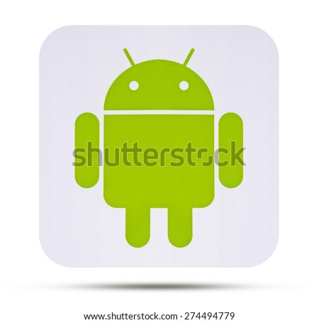 KIEV, UKRAINE - APRIL 08, 2015:  Android logotype printed on paper. Android - the operating system for smart phones, tablet computers, e-books,  game consoles, netbooks, smartbooks, and other devices. - stock photo