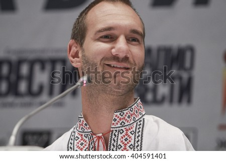 KIEV, UKRAINE - April 7, 2016: Australian motivational speaker Nick Vujicic in Kiev - stock photo