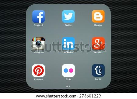 KIEV, UKRAINE - APRIL 27, 2015:Collection of popular social media logos on iPad screen:Facebook, Twitter, Google Plus, Instagram, Pinterest, LinkedIn, Flickr, Tumblr and Blogger - stock photo