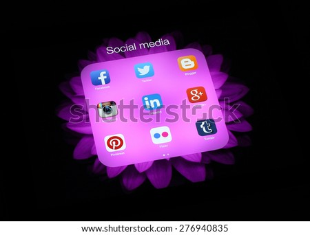 KIEV, UKRAINE - APRIL 30, 2015:Collection of popular social media logos on iPad screen:Facebook, Twitter, Google Plus, Instagram, Pinterest, LinkedIn, Flickr, Tumblr and Blogger - stock photo