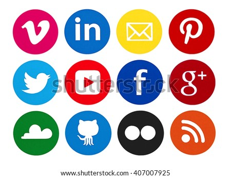 Kiev, Ukraine - April 14, 2016: Collection of popular social media logos printed on paper: Facebook, Twitter, Google Plus, Pinterest, LinkedIn, YouTube and others. - stock photo