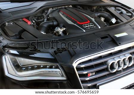 Kiev, Ukraine; April 10, 2014. Engine and logo Audi S8 . Editorial photo.