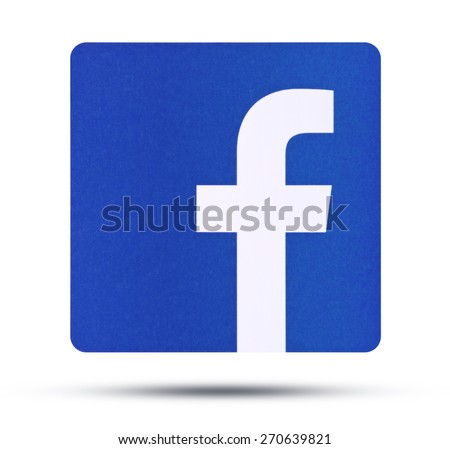 KIEV, UKRAINE - APRIL 16, 2015:  Facebook like logo for e-business, web sites, mobile applications, banners, printed on paper and placed on white background.  Social network facebook sign on pc sign. - stock photo