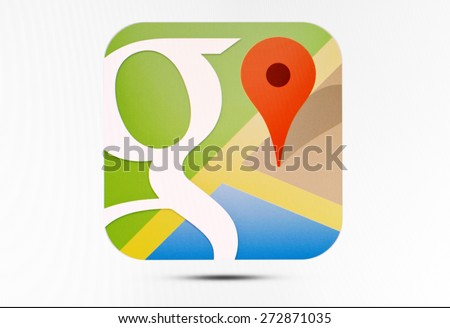KIEV, UKRAINE - APRIL 23, 2015: Google Maps  logo sign on pc sign. Google Maps a set of applications  map service and technology provided by the company Google. - stock photo