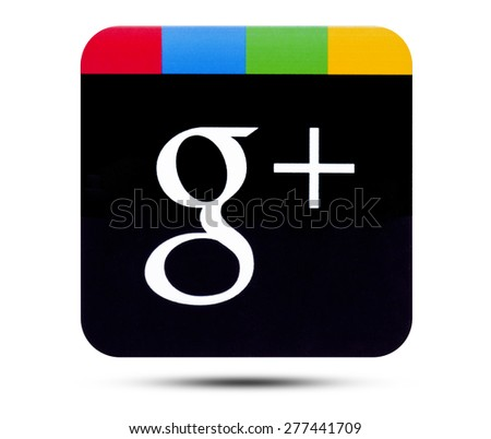KIEV, UKRAINE - APRIL 08, 2015:Google plus logotype printed on paper and placed on white background. Google is USA multinational corporation. - stock photo