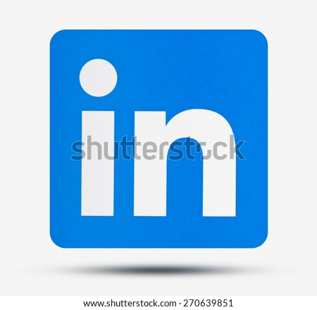 KIEV, UKRAINE - APRIL 16, 2015: Linkedin logo sign printed on paper. LinkedIn - social network to find and establish business contacts. - stock photo