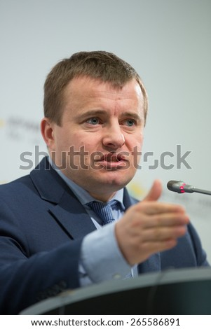 KIEV, UKRAINE - APRIL, 1, 2015: Minister of Energy and Coal Industry of Ukraine Volodymyr Demchyshyn during a press conference