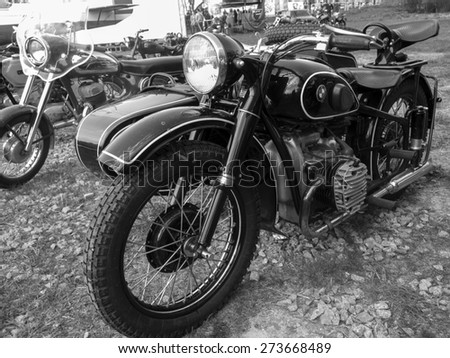 KIEV, UKRAINE - April 25, 2015: Motorcycle BMW, 1937 --The Retro OldCarFest is the biggest retro cars festival held in Kiev, and covers the State Aviation Museum grounds.  - stock photo