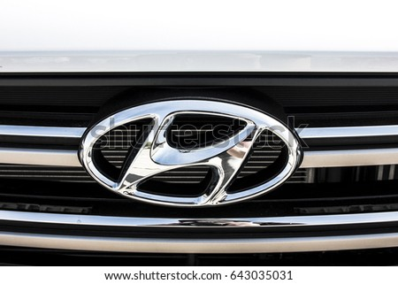 KIEV, UKRAINE - APRIL 28, 2017: Photo of the logo of Hyundai car. Hyundai is a famous worldwide car company.