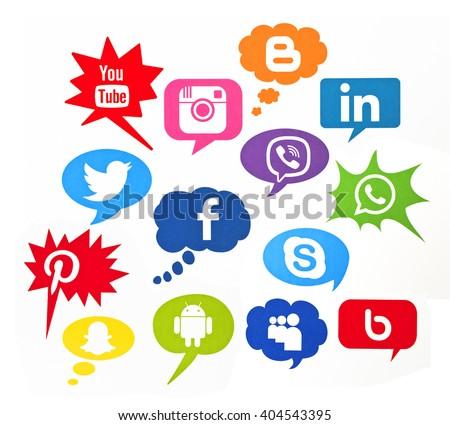 Kiev, Ukraine - April 12, 2016: Set of most popular social media icons: Facebook,Twitter,Youtube,Pinterest,Instagram,WhatsApp,Blogger, Bebo,Linkedin,Android,Snapchat, Skype,MySpace  printed on paper.  - stock photo