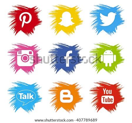 Kiev, Ukraine - April 18, 2016: Set of most popular social media icons: Facebook, Twitter, Youtube, Pinterest, Instagram, Blogger, Android, Snapchat, printed on paper. - stock photo