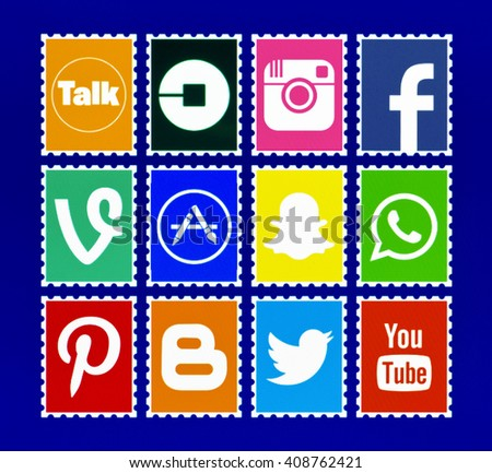 Kiev, Ukraine - April 21, 2016: Set of most popular social media icons: Facebook, Twitter, Youtube, Pinterest, Instagram, Blogger, Android, Snapchat, Uber, WhatsApp  and others on pc screen. - stock photo
