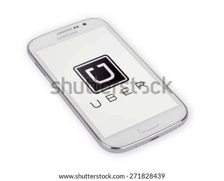 KIEV, UKRAINE - APRIL 02, 2015: Uber  mobile apps. Uber - Company of San Francisco, established under the eponymous mobile application for searching, calling and paying a taxi or private drivers.