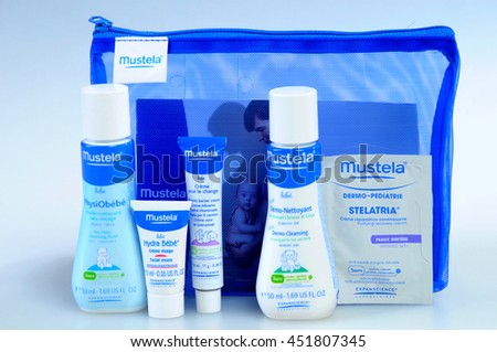 KIEV, UKRAINE - August 03, 2011. Illustrative editorial photo - Baby cosmetics isolated on white. A set of infant natural cosmetics (to bring along on the road) - Mustela