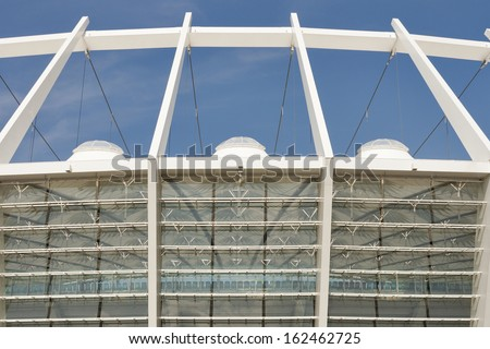 KIEV, UKRAINE - AUGUST 07: Modern Olympic National Sports Complex the second largest in Eastern Europe on August 07, 2013 in Kiev, Ukraine. It hosted the final of UEFA Euro 2012 Football Championship. - stock photo