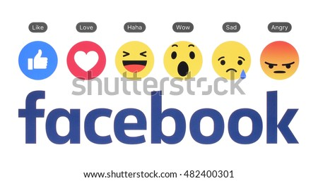 Kiev, Ukraine - August 23, 2016: New Facebook logo with like button and Empathetic Emoji Reactions printed on white paper.