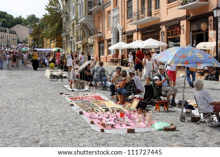 KIEV, UKRAINE - AUGUST 24: Sellers of the Holiday Fair at the time of the Independence Day of the country Ukraine on August 24, 2012 in the old Eastern European city Kiev, Ukraine.