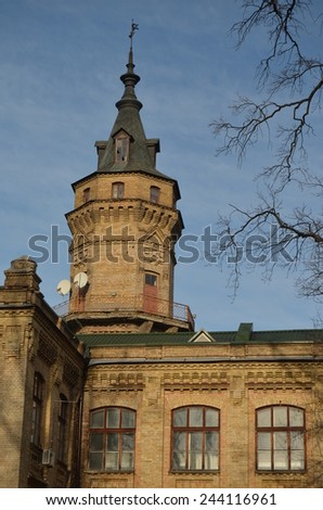 Kiev,Ukraine.DEC 30.A view of an antique bricks building of the Polytechnic Institute .At December 30,2014 in Kiev, Ukraine