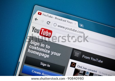 KIEV, UKRAINE - DEC 1: Google Inc officially released a brand new design of the YouTube homepage on Dec 1, 2011.  YouTube was founded on February 14, 2005. - stock photo