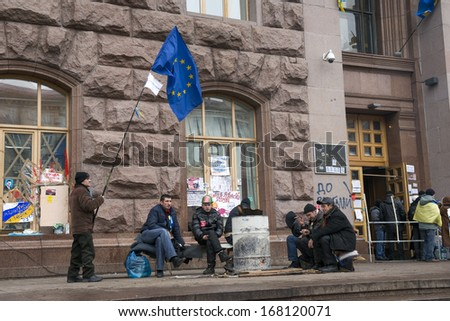 KIEV, UKRAINE - DEC 17 Occupied the building of the State administration in Kiev, December 17, 2013 during the political crisis in Ukraine