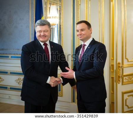 KIEV, UKRAINE - Dec 15, 2015: President of Ukraine Petro Poroshenko and President of the Republic of Poland Andrzej Duda during an official meeting in Kiev - stock photo