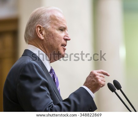 KIEV, UKRAINE - Dec 08, 2015: Vice president of USA Joseph Biden during his speech in the Verkhovna Rada of Ukraine, Kiev - stock photo