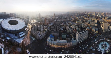 Kiev, Ukraine, December 14, 2014. Aerial panorama of Kiev city - stock photo