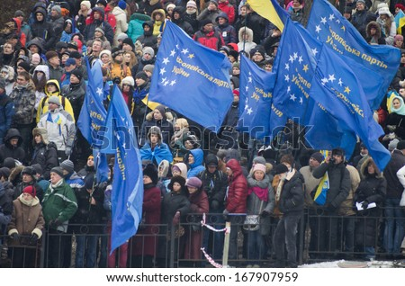 KIEV, UKRAINE - DECEMBER 9:anti government protesters keeps on their protests in Maydan square on December 9, 2013 in Kiev, Ukraine. - stock photo