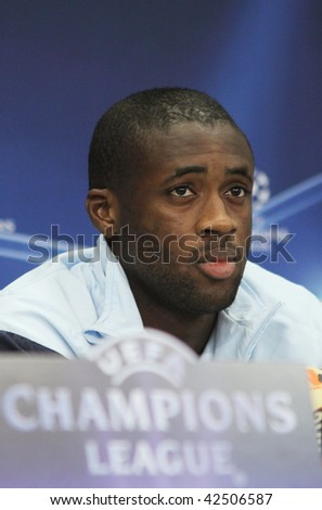 KIEV, UKRAINE - DECEMBER 8: FC Barcelona midfielder Yaya Toure attends a press-conference before UEFA Champions League football match against FC Dynamo Kyiv on December 8, 2009 in Kiev, Ukraine.