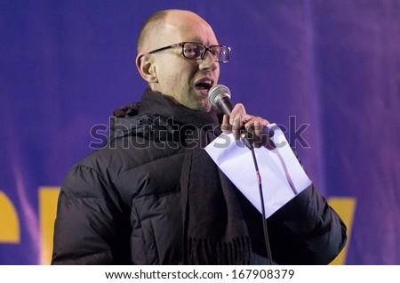 KIEV, UKRAINE - DECEMBER 5:Leader of the Ukrainian party Batkivshyna party leader Arseniy Yatsenyk speaks duringthe rally of the opposition on Independence Square in Kiev on December 5, 2013.  - stock photo