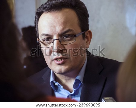 "KIEV, UKRAINE - December 23, 2014: MP, leader of the Party ""Self-help"" Oleg Berezyuk"