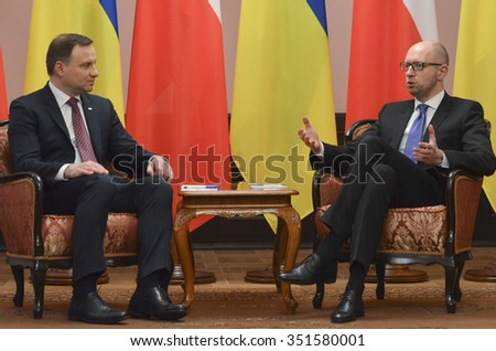 KIEV, UKRAINE - December 15, 2015:  Official visit of the President of the Republic of Poland Andrzej Duda in Ukraine