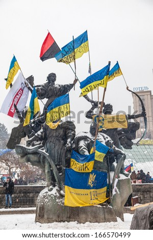 KIEV, UKRAINE - 9 DECEMBER: Protest on Euromaydan in Kiev against the president Yanukovych didn't sign the contract between the European Union and Ukraine on 9 December, 2013 in Kiev, Maidan, Ukraine. - stock photo