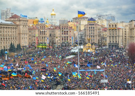 Kiev, Ukraine. December 1, 2013.  Strike on the Independence square in Kiev.  Meeting on the Maidan Nezalezhnosti in Kyiv. - stock photo