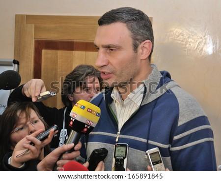 KIEV, UKRAINE � 2 DECEMBER 2013: The leader of Ukrainian opposition and boxer Vitali Klitschko meets with journalists on a briefing devoted to revolution on December 2, 2013 in Kiev, Ukraine - stock photo