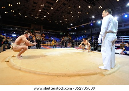 KIEV, UKRAINE - DECEMBER, 16, 2015: Ukrainian Combat Games III - nationwide Combat Games - fight of Ukrainian sumo athletes for the Champion title - stock photo