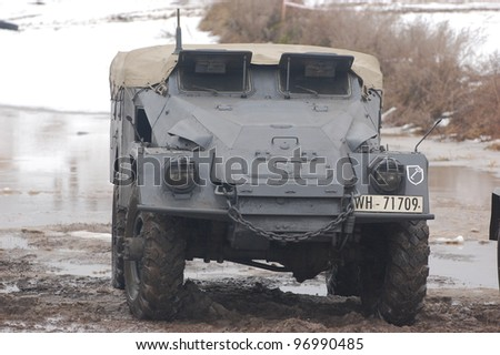 KIEV, UKRAINE -FEB 25: German armored truck during historical reenactment of WWII,Military history club Red Star. February 25, 2012 in Kiev, Ukraine