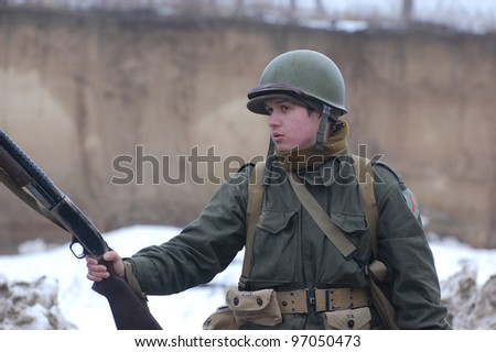 KIEV, UKRAINE FEB 25:  Member of Red Star history club wears historical American uniforms during historical reenactment of WWII, Military history club Red Star on February 25, 2012 in Kiev, Ukraine