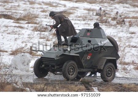 KIEV, UKRAINE -FEB 25: Soviet armored truck during historical reenactment of WWII,Military history club Red Star. February 25, 2012 in Kiev, Ukraine