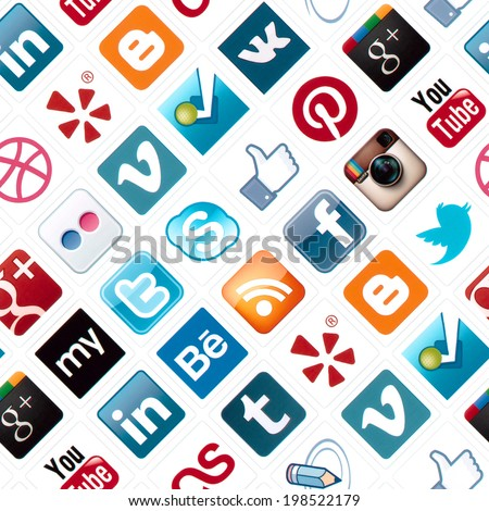 KIEV, UKRAINE - FEBRUARY 2, 2013: A seamless pattern with logotype collection of well-known social media brand's printed on paper. Include Facebook, YouTube, Twitter, Instagram and more other logos. - stock photo