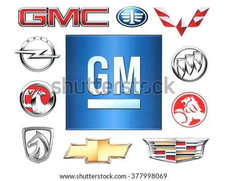 KIEV, UKRAINE - February 1, 2016:Brands of General Motors Company printed on paper, such as: GMS, Chevrolet, Opel, Vauxhall, Faw, Buick, Cadillac, Holden, Autobaojun, Wuling and Faw Jiefang - stock photo