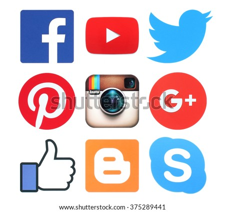 Kiev, Ukraine - February 8, 2016:Collection of popular social media logo signs printed on paper: Facebook, Twitter, Google Plus, Instagram, Pinterest, Skype, YouTube and Blogger - stock photo