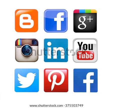 Kiev, Ukraine - February 11, 2016: Collection of popular social media logos printed on paper:Facebook, Twitter, Google Plus, Instagram, Pinterest, LinkedIn, YouTube, Blogger and YouTube. - stock photo