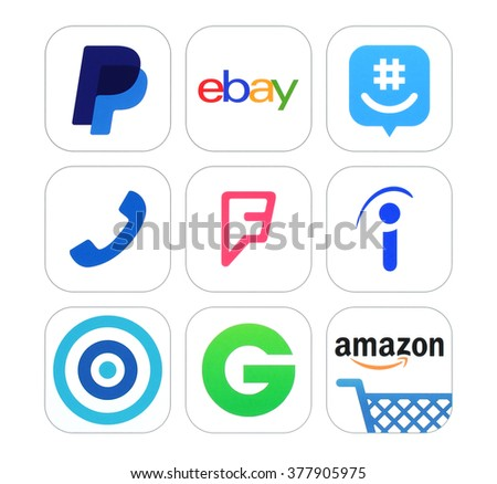 Kiev, Ukraine - February 17, 2016: Collection of popular social networking, Finance and Shopping logo signs printed on paper: PayPal, ebay, GroupMe, Talkaton, Foursquare, Indeed, Skout and other