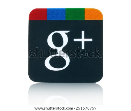 KIEV, UKRAINE - FEBRUARY 05, 2015:Google plus logotype printed on paper and placed on white background.Google is USA multinational corporation specializing in Internet-related services and products. - stock photo