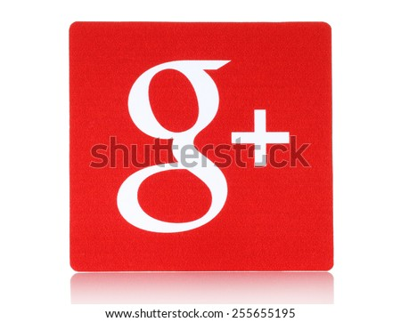 KIEV, UKRAINE - FEBRUARY 16, 2015:Google plus logotype printed on paper and placed on white background.Google is USA multinational corporation specializing in Internet-related services and products. - stock photo